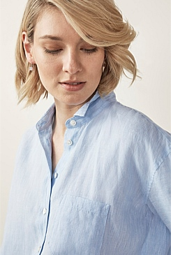 Linen Yarn Dyed Boyfriend Shirt