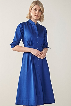 Cotton Sateen Shirt Dress