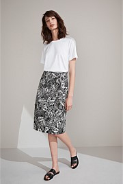 Graphic Foliage Cotton Skirt