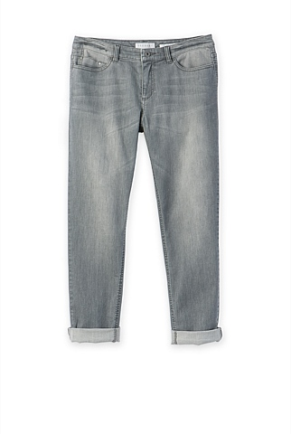 Washed Grey Boyfriend Jean