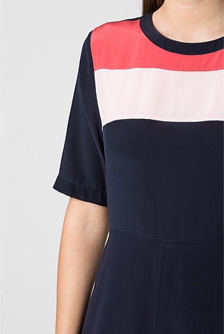 Silk Colourblocked Dress