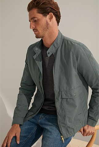 Cotton Blend Harrington Jacket