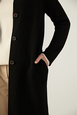 Longline Merino Knitted Coat