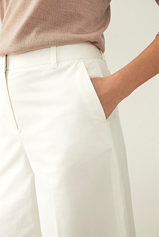 Cotton Twill Wide Leg Pant