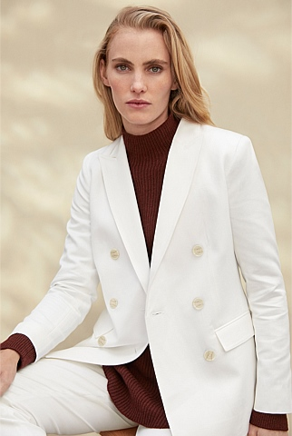 Cotton Linen Twill Double-Breasted Blazer