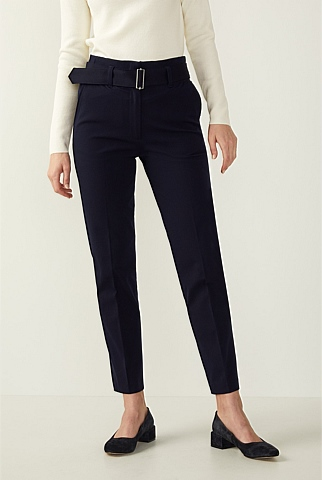 Bi Stretch Belted Cotton Pant
