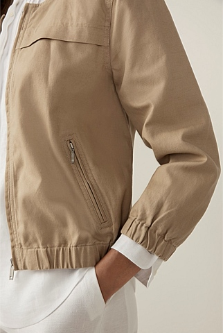 Sporty Cotton Linen Zip Jacket