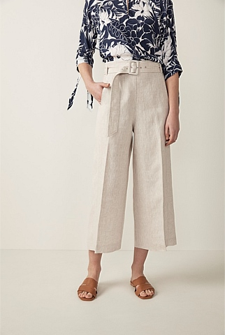 Linen Wide Leg Crop Trouser